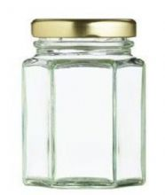 NEW Nutleys 110ml Hexagonal Glass Jam Jar with screw top gold col lid(Pack of 6)